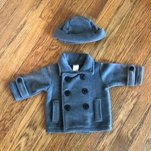 NWOT Gray Fleece Peacoat with Matching Hat
